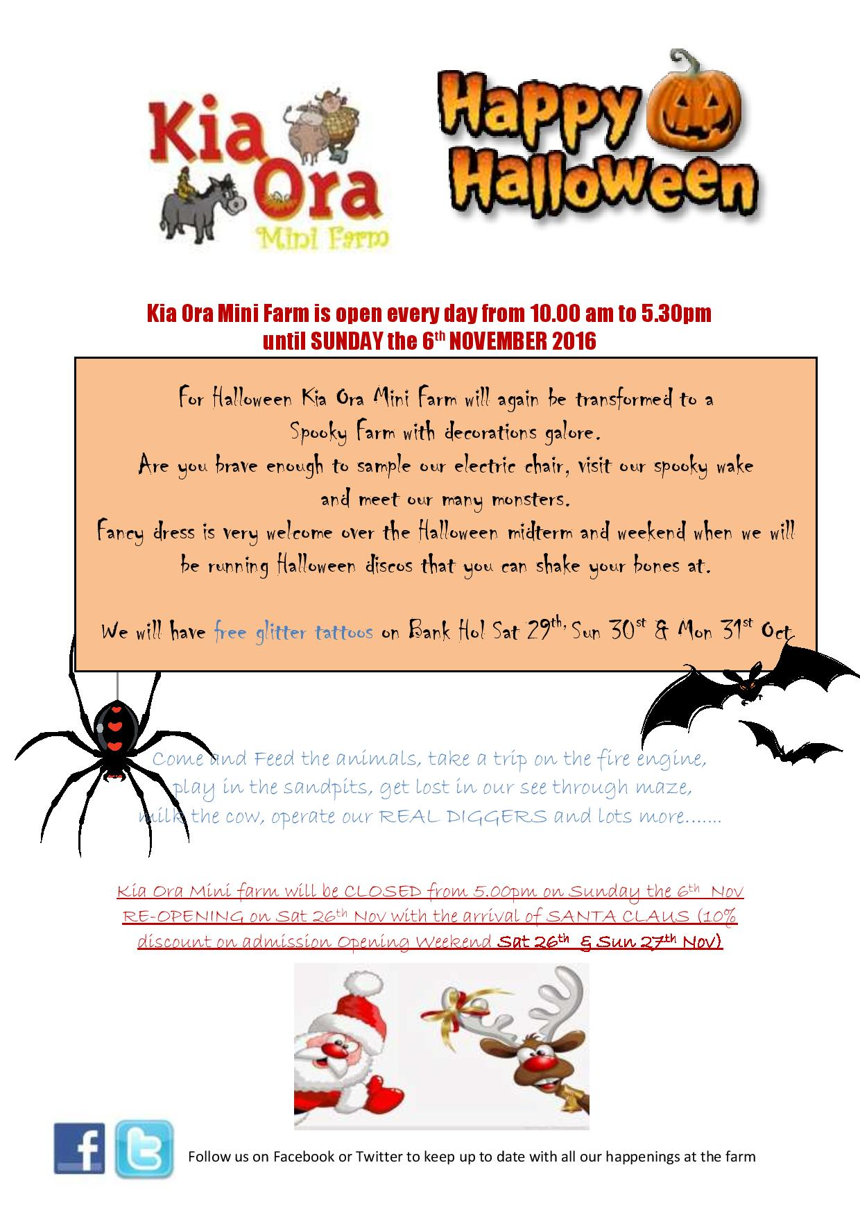 HALLOWEEN POSTER. 2016 Kia ora mini farm