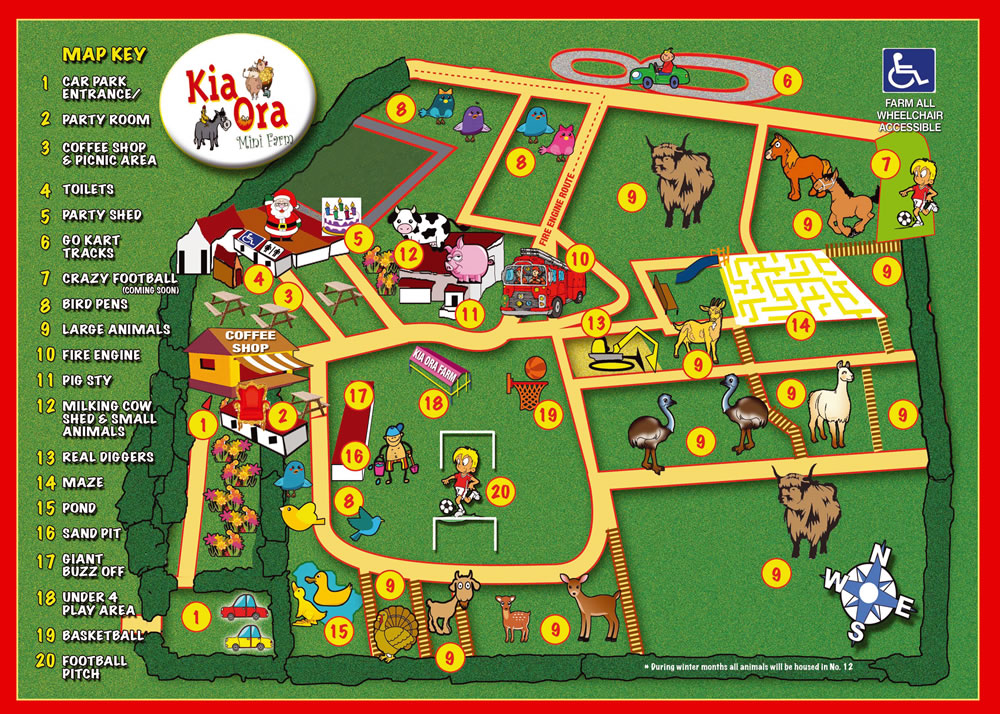 Map of Attractions at Kia Ora Mini farm